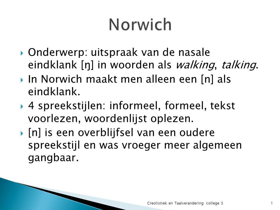 Norwich Onderwerp: uitspraak van de nasale eindklank [ŋ] in woorden als walking, talking. In Norwich maakt men alleen een [n] als eindklank.